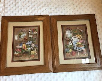 Great Home Interiors Vintage Homco Barbara Mock Floral Garden Print Set Wall Decor