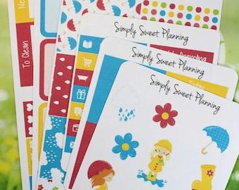 Rainy Days Planner Sticker Kit - Happy Planner - Plum Planner - Erin Condren - Functional Stickers - Matte - Weekly Planner
