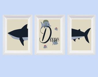 Shark Fish Nursery Decor Personalized Name Navy Blue Beige Wall Art Ocean Boy's Room Print of 3-8X10 Kids Room Baby's Room Decor