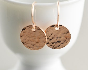 Hammered Disc Earrings, Rose Gold Disc Earrings, Textured Coin Earrings