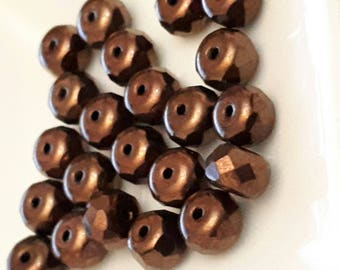 set of 15 large beads Brown reflection glass 7 x 5 mm