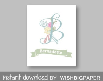Personalised Girls Nursery Wall Art Print-Digital Download. Floral Name Printable. Floral Nursery Name. Monogram Initial Floral Art
