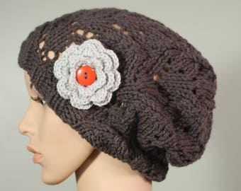 Super Slouchy Hat with or without Flower - Graphite - Handknit Cap - Women's - Light Gray Flower - Interchangeable