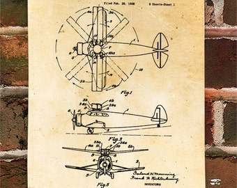 KillerBeeMoto: Duplicate of Original U.S. Patent Drawing For Vintage Airplane Helicopter Rotary Aircraft