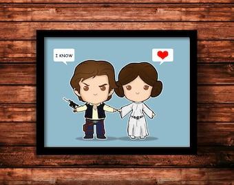 Star Wars 'I love you-I know' Han Solo and Princess Leia, Art Print, Star Wars Decor