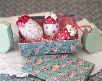 Easter eggs pink and white with small paper flowers beads. Hanging easter ornaments or gift.