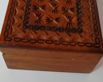 Decorative Wooden Box with Carved Top, Wooden Jewelry Box with Carved Top