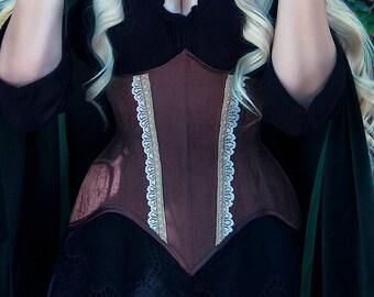 Brown corset underbust wood efect fabric - waist training - steampunk - fantasy