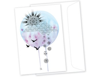 Cloudy With a Chance of Flowers // Greeting Card