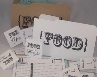 FOOD Printable EDITABLE - Recipe Cards with Mini Folder & Gift Tags - Type or Paste Recipes into PDF - No Writing Needed