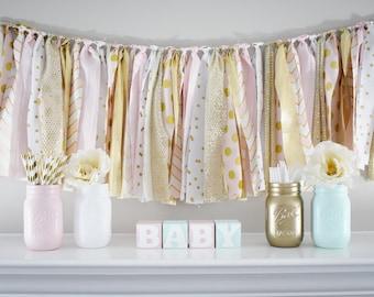 Gold Pink Mint Mason Jars Baby Shower Centerpiece, Baby Shower Party Decor
