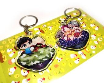 "Yuri on Ice x Bingsu charms | Yuri Katsuki | Viktor Nikiforov | Makkachin | 2.4"" double sided kawaii dessert chibi keychain gift"