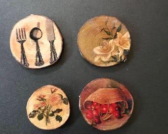 Set of 4 Farmhouse Style Fridge Magnets