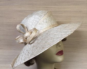 Women's Straw Hat, Sculptural Hat, Wide Brim Hat, Free Form Shaped, Kentucky Derby Hat, Mother of the Bride, Natural Straw Hat, Sun Hat