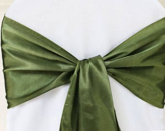50x Olive Green Satin Chair Sashes Bows Church Wedding Engagement Event Reception Ceremony Function Bouquet Christening Baptism Decoration