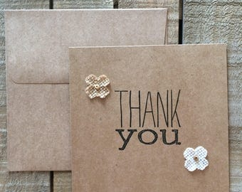 Burlap flowers Thank You cards