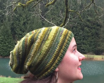 Moss Magic Hat~ winter hat~ slouchy hat~ messy bun hat~ handmade knit