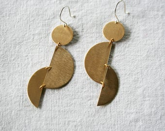 Geometric Earrings, Half Moon, Boho Earrings, Brass Earrings, Gold Fill, Large Earrings, HOWL