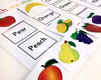 Learn fruit words, matching game, EYFS, KS1, teaching resource, visual learner, reception, early learning, fruit pictures