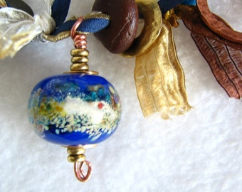 Necklace, lampwork, sterling silver, beach stone, clay, brass, copper, fibres... Earth Bound by melanie j cook