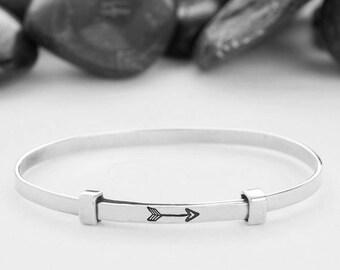 Arrow, Arrow Bracelet, Silver Arrow, Archery Jewelry, Sterling Silver, Gift For Her, Arrow Jewellery, Simple Jewelry, Sideways Arrow, B252SS