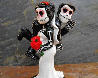 Wedding Cake Topper Day of the Dead Skeleton Funny Couple