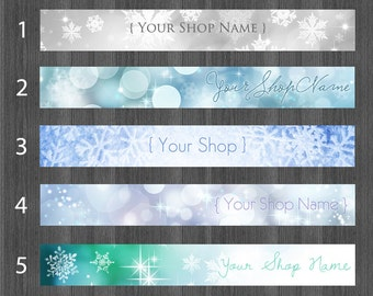 Etsy Shop Banners, Winter, Cover Photo, Snowflake, Bokeh, Etsy Banner, Frozen, Frost, Snow, Blue, Silver, Green, Sparkle