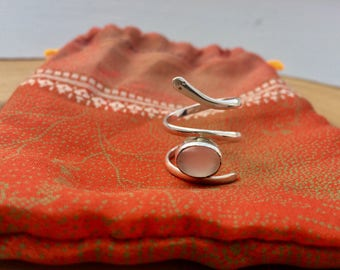 Silver snake ring with moonstone