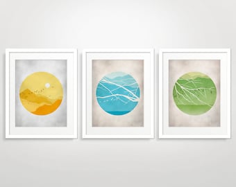 Mid Century Modern Art Prints Set of 3, Scandinavian Print, Nature Art, Set of 3 Prints, Mid Century Art, Modern Nursery Art, Landscape Art