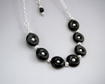Black Bead Necklace, Circle Necklace, Best Gift for Women, 925 Silver, Black Jewelry Gift, Black Necklace for Her, Petite Necklace