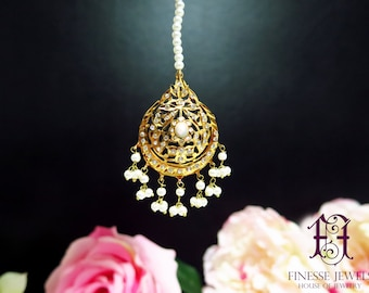Jadau Tikka, Hyderabadi Tikka, Nizami Mughal Maang Tikka, Indian Jewelry
