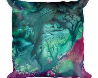 "Exclusive Original Design by Aditi-Kali=""fearie Green"" Square Pillow"