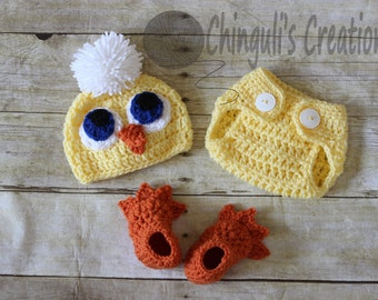 Baby Crochet Chicken Outfit Newborn Chicken Hat Diaper Cover and Shoes Easter Chick Hat Baby Easter Outfit