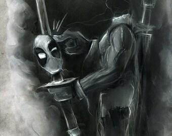 Deadpool comic book illustration charcoal pastel giclée fine art wall print