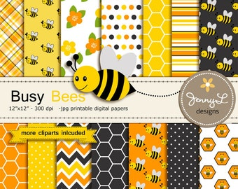 Bee Digital papers and Clipart SET, Bumble Bees, Honeycomb, Beehive, Baby Shower, Birthday Scrapbooking Paper Party Theme,