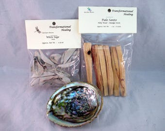 Smudge, Cleanse & Purify Kit - Sage, Palo Santo, Protection, Centering, Clearing, Spiritual, Metaphysical - Dee's Transformational Healing