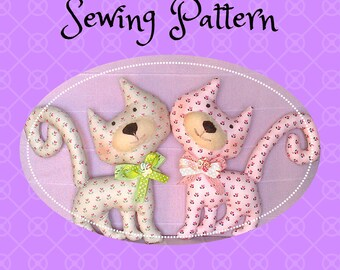 Sewing Pattern For Cat DIY PDF Cat Toy Pattern Primitive Cat Pattern Cloth Cat Pattern Rag Cat Pattern Stuffed Cat Pattern Instant Download