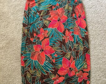 Vintage St Michael Floral Belted Wrap Cotton Pleated Skirt Size 14 UK 42