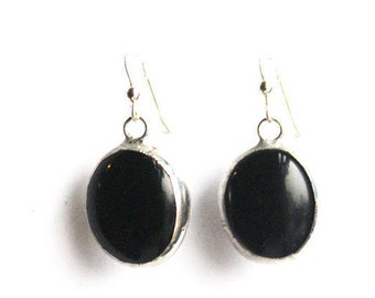 Round Black Earrings- Stained Glass Earrings- Everyday Earrings- Black Glass Earrings