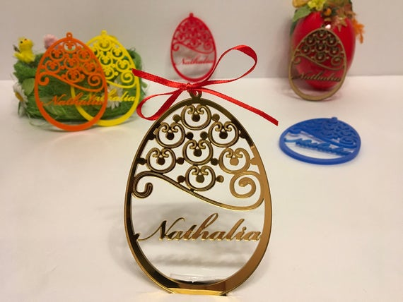 Personalized Easter Tree Ornament Custom Easter Bauble Happy Easter Decoration Custom egg Personalised Wood Egg Laser cut Golden Easter eggs