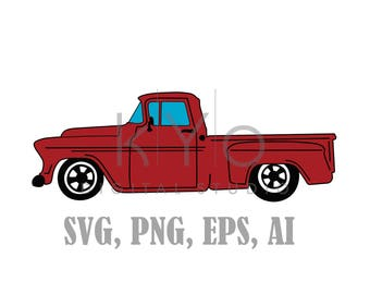 Old Truck SVG files, Old Chevy Svg files, Red Old Retro Pickup truck, Chevrolet pickup truck