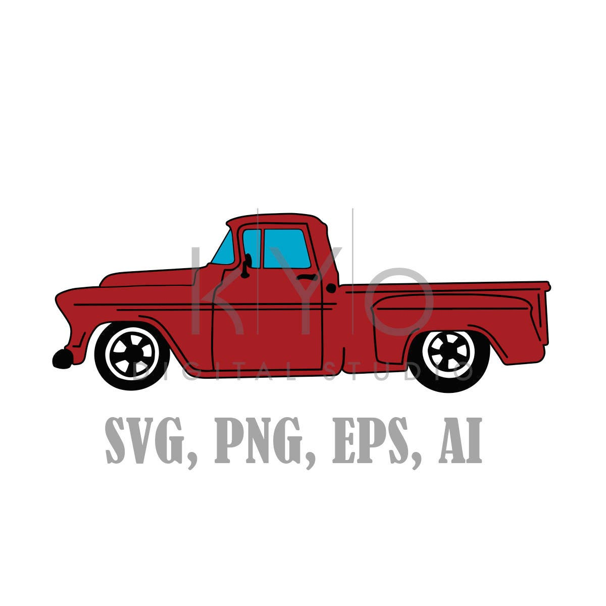 Old Truck SVG files, Old Chevy Svg files, Red Old Retro Pickup truck ...