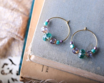 Gold plated hoops, Aqua Turquoise and Lavender Purple Czech glass Earrings