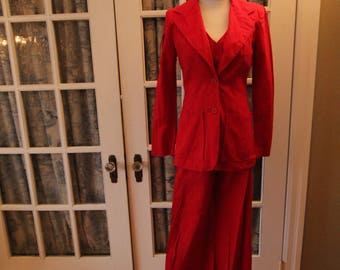 1970's Red Cotton Bagatelle Three Piece Women's Suit