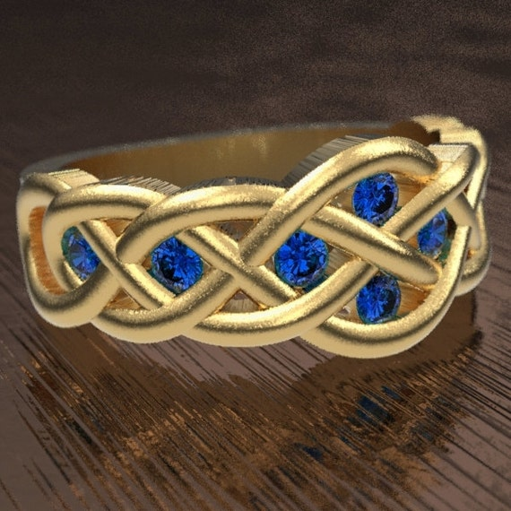 Celtic Sapphire Wedding Ring With Woven Knotwork Design in 10K 14K 18K Gold, Palladium or Platinum Made in Your Size CR-764