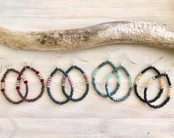 Boho Hoop Earrings - Seed Bead Hoop Earrings - Boho Earrings - Teardrop Hoop Earrings - Bohemian Jewelry - Beaded Hoop Earrings