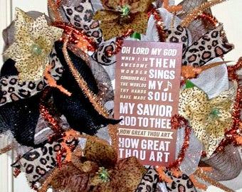 Spiritual wreath, leopard print wreath, religious door hanger, How Great Thou Art, church wreath, Easter wreath