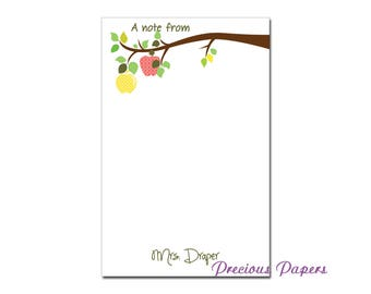 Personalized Teacher note pads Personalized teacher gift Personalized teacher apple branch notepad apple note pad