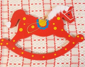 Vintage Wooden Rocking Horse Large Christmas Ornament 11'