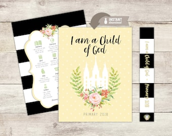 "Instant-Download - 2018 LDS Primary Theme ""I am a Child of God"" Binder Cover Printables"
